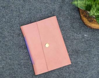 Blush Pink & Navy Blue Leather Pocket Journal