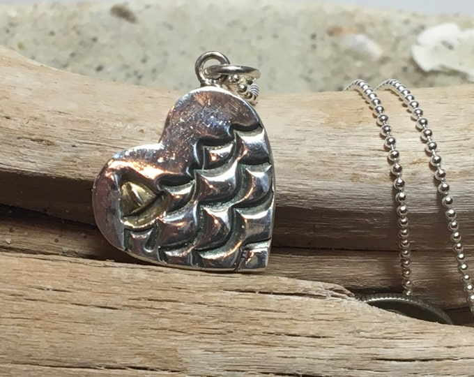 Fine (.99%) Silver Wave Heart Necklace with 22k Gold Plated Sailboat on Sterling Chain
