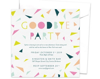 Going away party invitations etsy goodbye party invitation leaving party invitation farewell party invitation going away party bon voyage party moving away colorful confetti stopboris Gallery