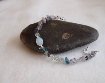 Watermelon Tourmaline, Moonstone Bracelet & Earrings