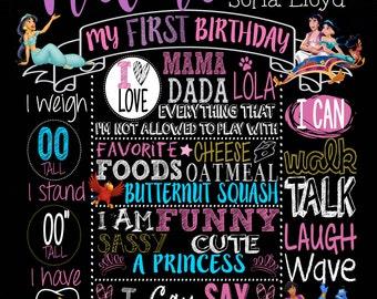 Aladdin Jasmine Themed Birthday Milestone Poster