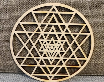 Various sizes - Sri Yantra wooden laser cut wood EXCELLENT QUALITY home decoration hanging