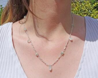 Aquamarine stone necklace - blue - Aquamarine necklace - March birthstone - Aquamarine gemstone - light blue necklace - something blue - UK