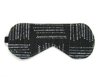 Sleeping Eye Mask / Night Eye Mask / Travel Eye Mask / Sleep Mask - Black Geometric Dots
