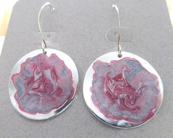 Hand Painted Earrings By Artist/Designer Diane Kirkup Presented On Sterling Silver Ear Findings