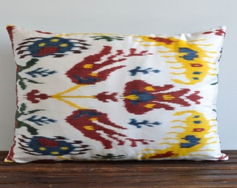 Ikat Pillow Cover - 16x24 Handwoven Silk Floral Colorful Ethnic Home Decor Decorative Pillow For Couch - Ikat Lumbar Pillow - Throw Pillows