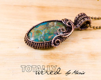 Statement necklace, trendy necklace, chrysocolla necklace, copper wire wrapped necklace, blue and green necklace