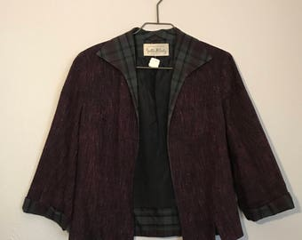Darling early 60s burgundy open front Blazer with Plaid Trim