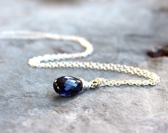 Iolite Necklace Blue Teardrop Sterling Silver Blue stone Necklace Sterling Silver, Water Sapphire