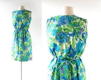 60s Floral Dress | Vintage 1960s Dress | Blue Floral Dress | Small S