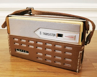 Vintage 1962 AFCO 8 Transistor Radio, Made in Japan, With Leather Case