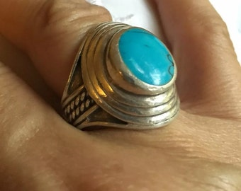 Vintage .925 Sterling Silver Turquoise Round Encircled Ring Size 8 1/4