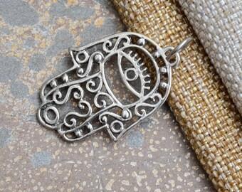 Silver Hamsa Pendant, Hamsa Hand and Eye Pendant, Large Hamsa, Evil Eye, Hand of Fatima Pendant, Sterling Silver Pendants, One , BS17-1024E