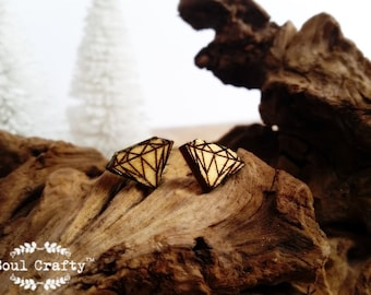 Geometric Diamond Earring Wooden Stud earring Birthday Wedding Mother's day Gift BFF Bridesmaid Maid-of-honor Mother of Groom