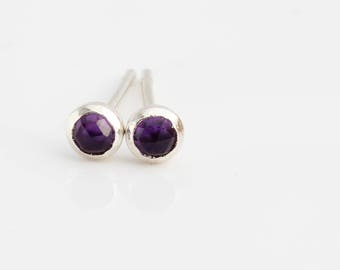 Amethyst and Sterling Silver Stud Earrings / Post Earrings / Amethyst Studs / Sterling Silver Earrings / February Birthstone Jewelry
