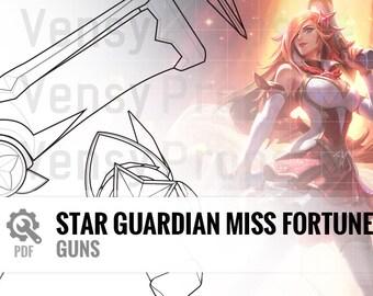 Star Guardian Miss Fortune - Guns (Front, Top, Side) - Blueprint Cosplay League of Legends DIY