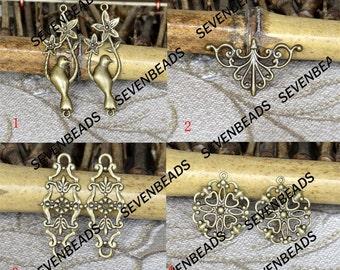 6pcs Antiqued brass metal filigree Connector Findings,Filigree Findings,Filigree