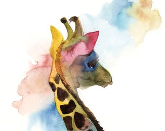 Colourful giraffe Original Watercolor Painting, wild animals modern painting, watercolor painting of giraffe