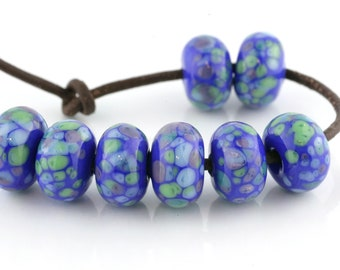 Blue Luau Handmade Lampwork Beads by Pink Beach Studios 8 count (1827)