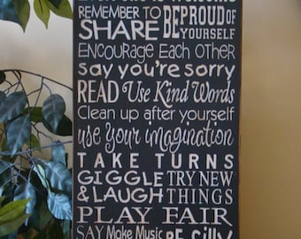 Playroom Rules Subway/Typography Word Art Sign