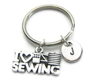 I Love Sewing Personalized Keychain, Sewing Keychain, Personalized Keychain, Initial Keychain, Customized Keychain
