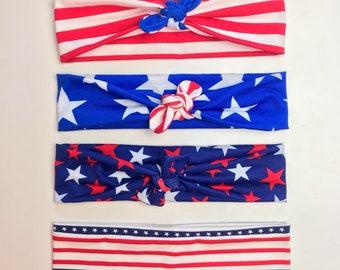 American flag topknot headband turban mommy and me