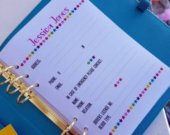Printed A5 Personalised Information planner insert for large Kikki K or Filofax.  Choose your text | planner dashboard