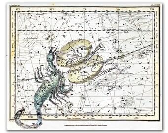 "13x16"" Zodiac Sign Libra Scorpio Constellations, vintage celestial map printed on parchment paper. 33x40cm, astro decor"