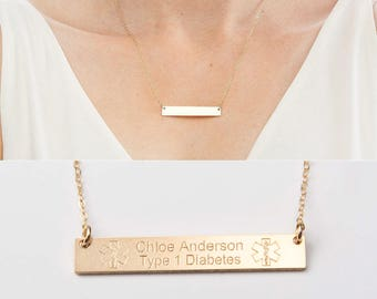Medical id necklace etsy medical alert necklace custom medical id jewelry personalized gold bar 14k gold filled mozeypictures