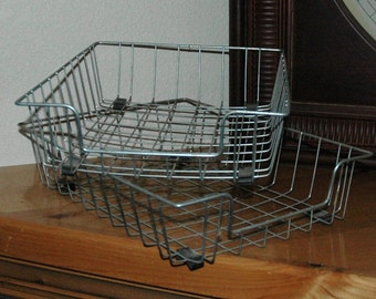 In and Out  -  Older Vintage Wire Office Baskets