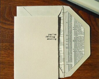 typed f-ing amazing greeting card pack/6 cotton paper typewriter typed f@!%ing amazing with phonebook lined envelope
