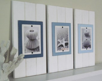 Set of Three 5x7 White Plank Frames