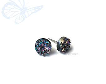 Glitter Stud Earrings, Midnight Rainbow Faux Druzy - Titanium Posts