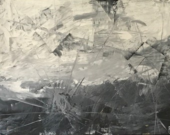 On Sale 30x40 Black White Abstract