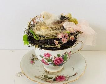 Pink Bird Nest Decor - Bird Nest Eggs - Shabby Cottage Chic - Pink Roses Teacup  - Patio Porch Decor - Spring Centerpiece - French