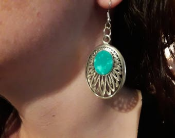 Handmade Natural Silver and Turquoise Earrings