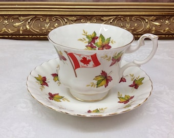 "Royal Albert Canadian teacup and saucer ""from sea to sea"""