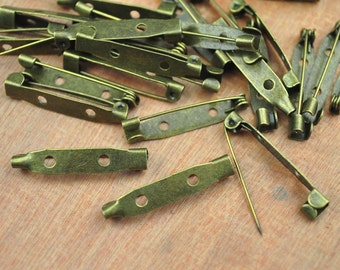 50pc Bronze pin--Antique Bronze Brooch Pin Back 30x5 mm metal bar pin back brooch,Safety Pin Findings