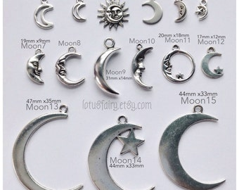 Moon charms, crescent moon pendant in silver, gold and bronze