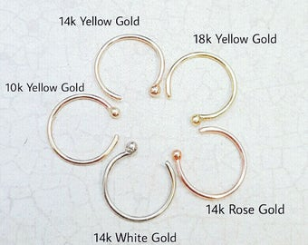 18k 14k 10k Gold Nose Ring. 22G. 14k Rose Gold. Partial nose ring. 14k Yellow gold. Solid gold piercing. White gold nose ring. Ball hoop