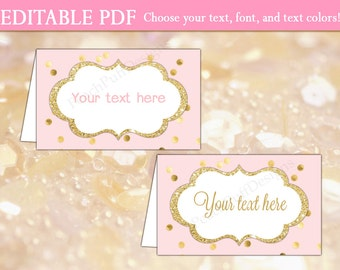 Editable place cards (INSTANT DOWNLOAD) - Printable place cards - Printable food labels - Food tents - Food tent cards BI001 BA002 PL001