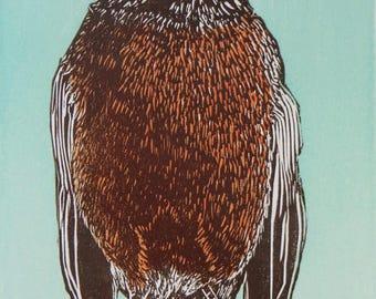 Woodblock Print:  Robin