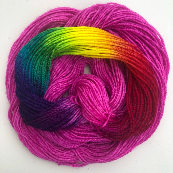 Care Bear Rainbow 20g Miniskein, indie dyed merino nylon blend sock yarn