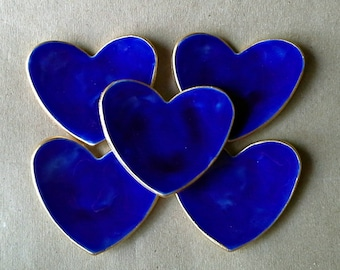 FIVE Small Ceramic Heart ring bowls baptism favors itty bittys Cobalt Blue edged in gold