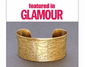 Featured in Glamour : Gold Cuff Bracelet in Hammered Brass Ancient Egyptian Greek Jewelry Handmade Boho Chic Jewelry by Seventh Willow