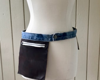 Leather and Denim Urban Fanny Pack, Utilitarian