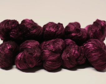 Silk Roving Top Pure Mulberry Hand Dyed Painted Cultivated Goth Red