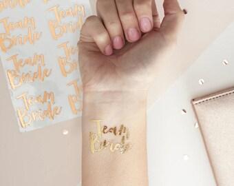 Team Bride Rose Gold Temporary Tattoos 16 pack