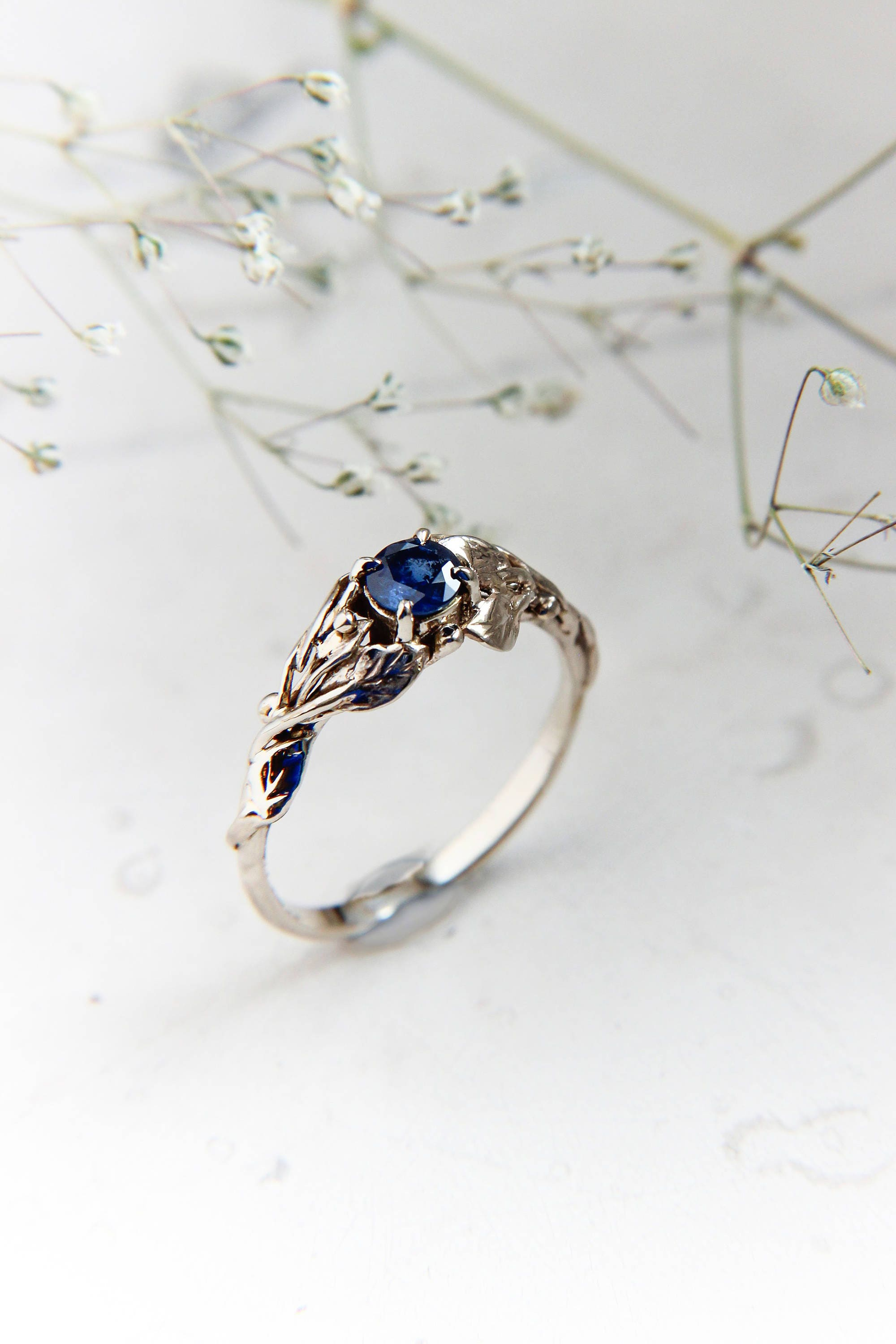 a flower ring leaf custom by made engagement rings valeriekstudio to band buy wedding design