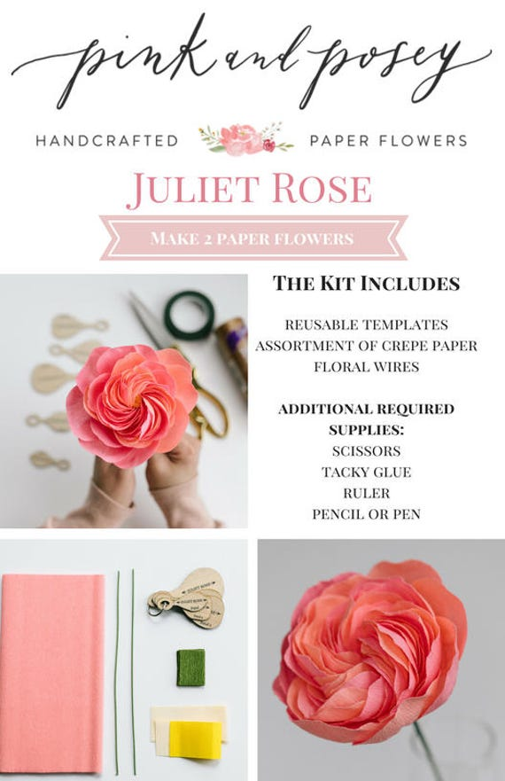 Paper flower kit juliet rose from pinkandposey on etsy studio paper flower kit juliet rose mightylinksfo